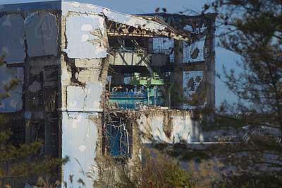 A fukusimai erőmű 3-as reaktorának épülete 2011. November 12-én