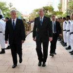 Chuck Hagel (balra) s Moshe Ya&#039;alon Tel-Avivban