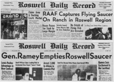 A Roswell-i szerencsétlenségről szóló korabeli beszámolók
