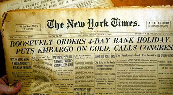 Roosevelt 4 napos bankszünetet és az arany elkobzását rendeli el