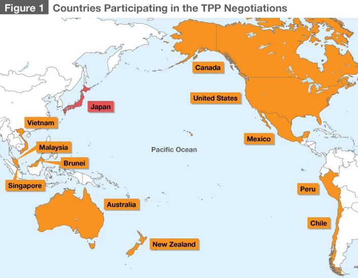 A Transzatlanti Partnerségben résztvevő országok