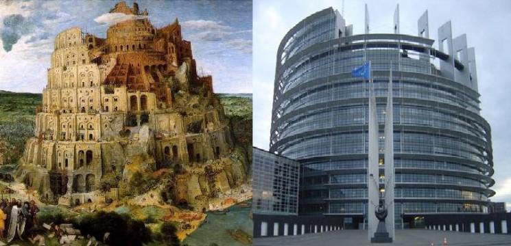 Bábel tornya (balra) - Az Európai Parlament épülete Brüsszelben (jobbra)