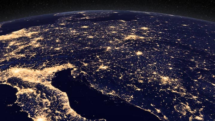 Europe-satellite-view-night