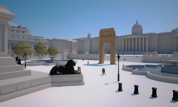 Így néz majd ki az árkád a londoni Trafalgar Square-en. Kép: Institute for Digital Archaeology