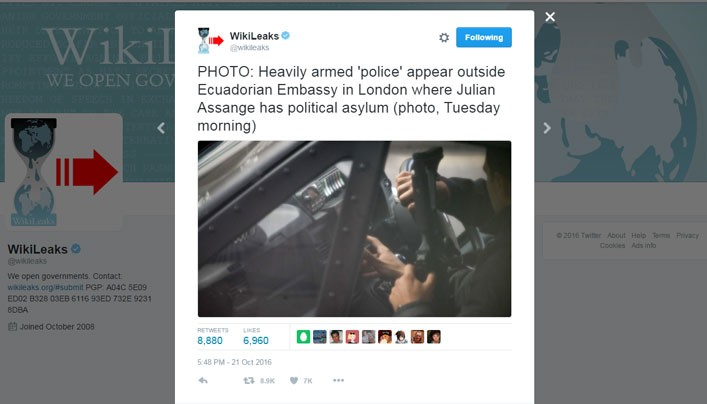 "WikiLeaks Tweets ""Heavily Armed Police"" Gathering Outside The Ecuadorian Embassy In London"
