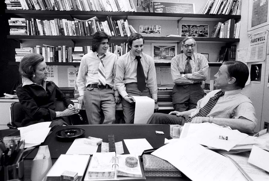 Publisher  Katharine Graham was briefed on Watergate coverage in April 1973 by reporters Carl Bernstein and Bob Woodward; Managing Editor Howard Simons; and Bradlee, her handpicked executive editor. (Mark Godfrey)